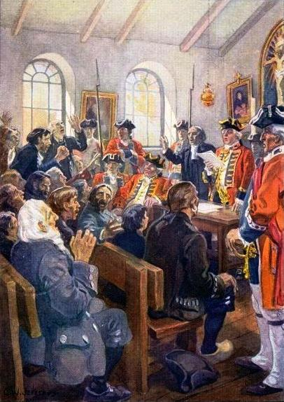 Deportation of Acadians order, Reading the Order of expulsion to the Acadians in the parish Church at Grand-Pré, in 1755, painting by Charles William Jefferies (1923), Public Domain via Wikimedia Commons.