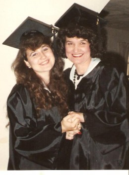 My cool mom came to the university to go to college; she lived with my brother and me. There was even an article written about us in the campus paper. Mom and I graduated in the same ceremony!