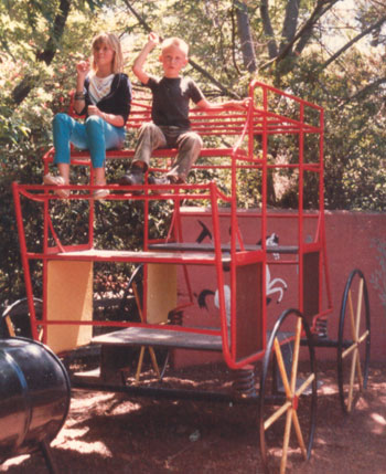 This was taken at Kelly Park in San Jose in 1985. By this time both children were familiar with the West and homesteading days. It was perfectly natural for them to use this prop.