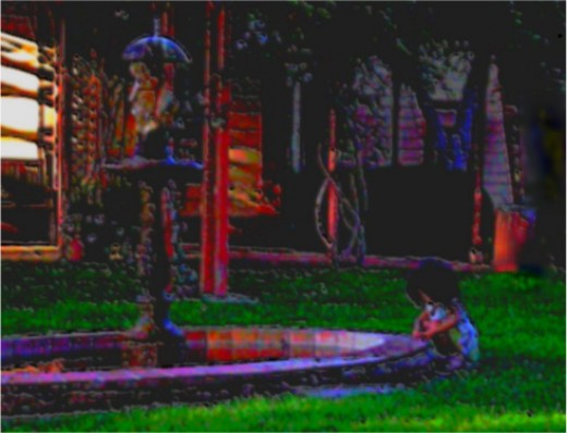 I love to play with light and color - and on this day the sun was setting and the light was beautiful on the grass, the house and the fountain. Lyzaea bending by the fountain was a perfect shot.