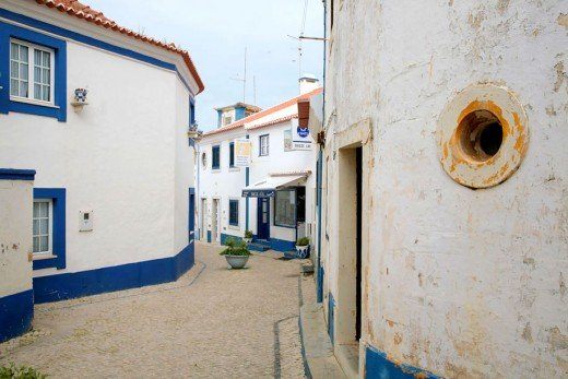 Typical street in the fishing village of Ericeira