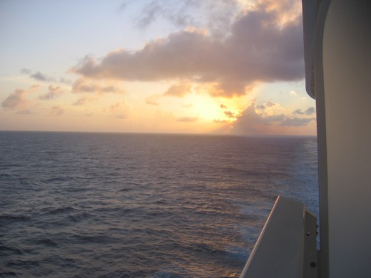 Sunset at sea from our balcony