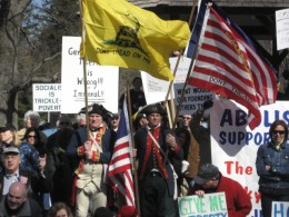 "Modern ""Boston Tea Party"" members protesting in 2011"