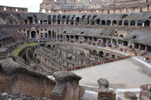 Inside the Roman Colosseum in Rome Italy