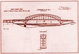 1900 - Bridge designers submit their tenders, all of which are unsatisfactory but this design wins the second prize of £500 for a suspension bridge tendered by the Sydney firm J. Stewart