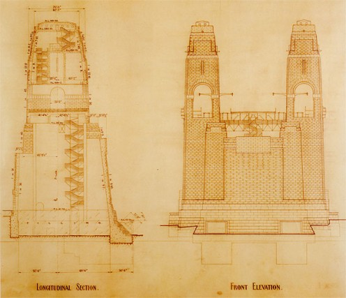 Longitudinal section and front elevation of Sydney Harbour Bridge pylons.