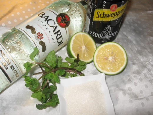 Bacardi, club soda,spearmint,sugar and lime