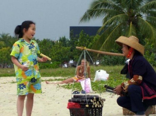 Sugarcane vendor on the beach