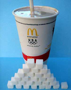 Medium chocolate shake = 112g sugar
