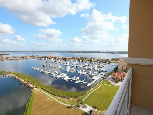 Riviera Dunes marina view from 140 Riviera Dunes Way, #1401, Palmetto, Florida