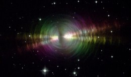 A different view of the Egg Nebula that show the circles or arcs of shed material that this nebula is famous for.