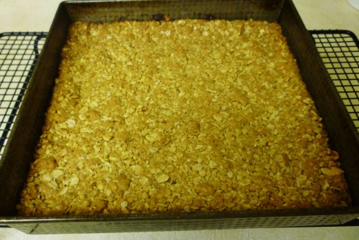 Let cool in pan after being baked and when completely cooled, cut into squares.