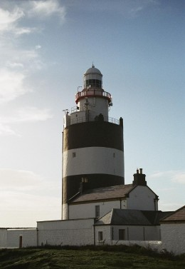 The Hook Lighthouse currently has white and black stripes. Prior to 1933, the lighthouse sported red and white stripes!
