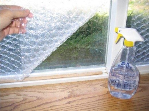 Use bubble wrap to cover windows to insulate rooms during cold season.