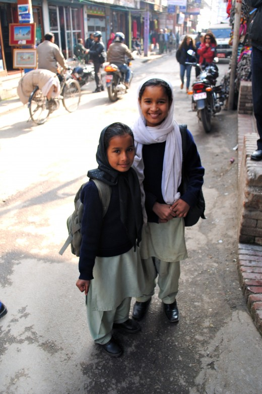 These two local girls were very helpful in bartering with the street traders. They would tell us the 'real' prices of products, until they were chased off by a rarely seen 'angry' Nepali man.