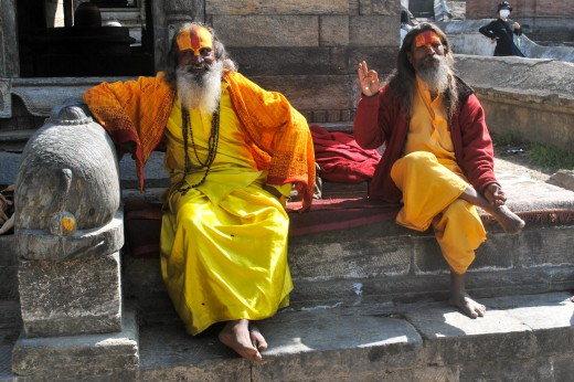 Some very strange, funny old men at the Pashupatinath cremation temple.