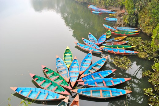 Colourful rowboats in Phewa Lake, Pokhara.