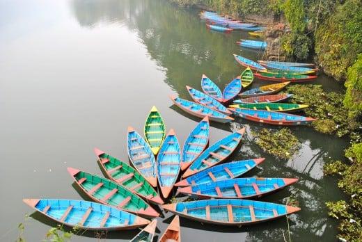 Colourful rowboats in Phewa Lake, Pokhara.
