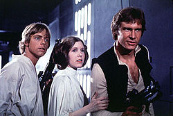 Actors - Mark Hamil, Carrie Fisher and Harrison Ford.