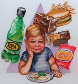 Child with unhealthy food options