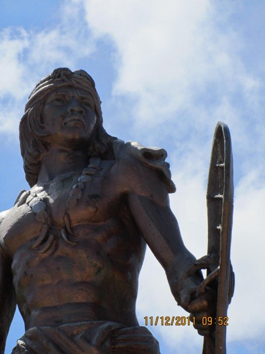 Lapu-Lapu at the Liberty Shrine. He led the Filipino warriors at the Battle of Mactan against the soldiers of Magella