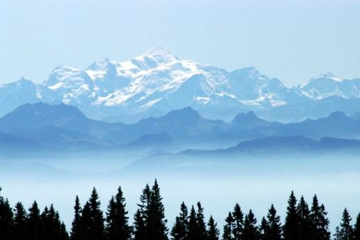 The view from Lake Geneva, Switzerland