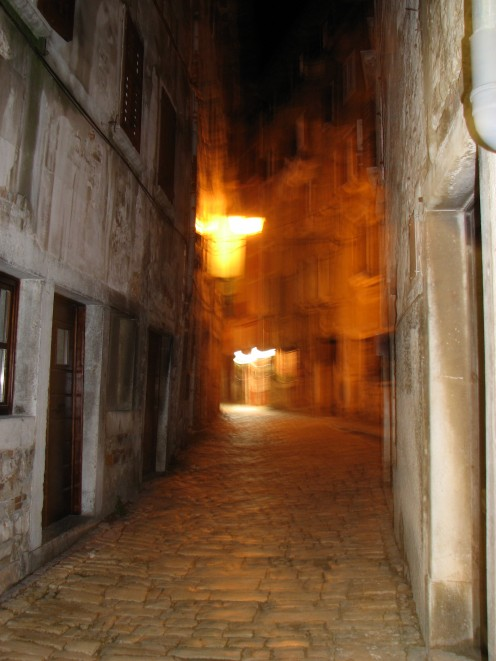 Streets of Rovinj, night.