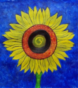 Abstract Sunflower Painting by Injete Chesoni