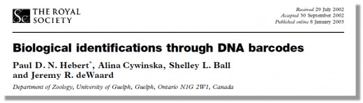 First report about DNA Barcoding published in 2003