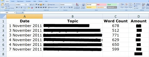This is a snapshot of how your spreadsheet for Client A should look like. This is an actual screenshot of my spreadsheet for such a client for the 1st week of November 2011