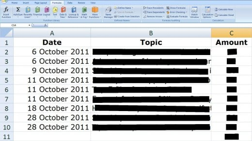 A screenshot of one of my spreadsheets from the month of October 2011 wherein the Client had a per article payment agreement