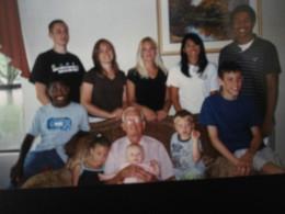 Dad with his grandchildren and great grandchildren.