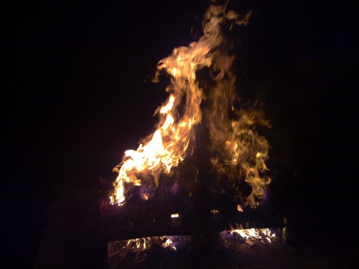 The raging fire: Fire, one of the five universal elements in Hindu world view symbolizes, desire and anger.