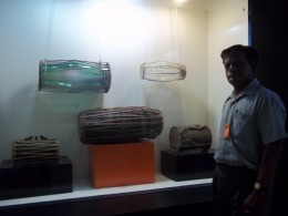 Mridangams.Observe two glass mridangams in the show case.
