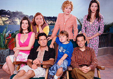 Main cast of Two and a Half Men, (from left): Melanie Lynskey, Rose; Conchata Ferrell, Berta; Charlie Sheen, Charlie Harper;  Holland Taylor, Evelyn Harper;  Angus T. Jones, Jake Harper; Jon Cryer, Alan Harper; and Marin Hinkle as Judith Melnick.
