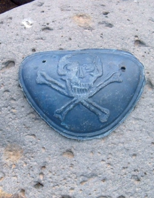 Skull and Bones in plastic found on La Caleta beach