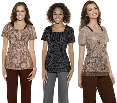 Discount scrub tops in animal prints and scrub pants in brown and graphite.