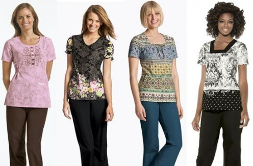 Some print scrub tops with scrub pants that perfectly complement.