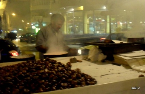 In the autumn you can find stalls selling roasted chestnuts in the streets - this one in is Vélez-Málaga.