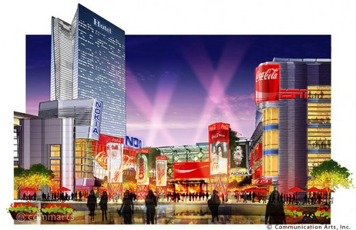 Artist conception, that has actually come to reality, L.A Live