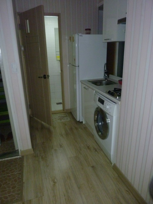 This was my first kitchen and bathroom area.  There were only 2 cabinets for storage space.