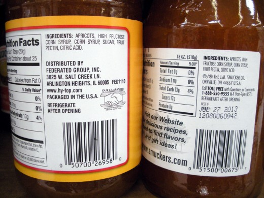 Name brand jam vs. house label-note identical ingredients