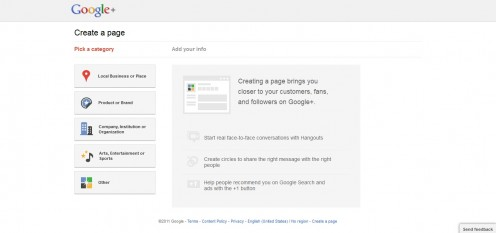 Link to (create page) below is only active if the user is logged into Google+.