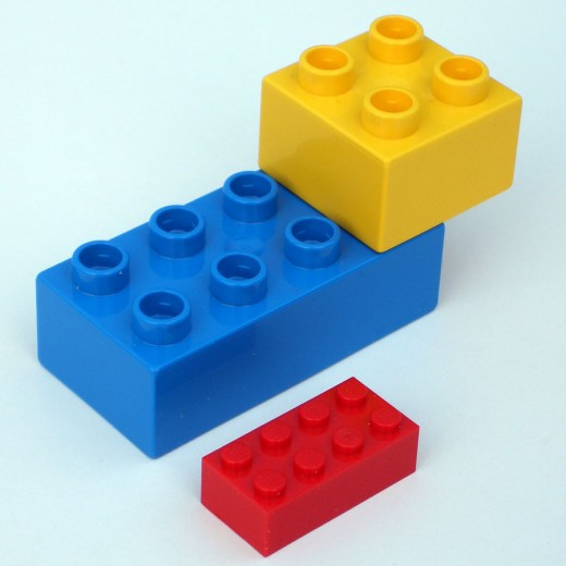 size difference between regular Lego and Lego Duplo