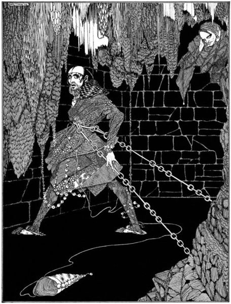 """Illustration for Edgar Allan Poe's story """"The Cask of Amontillado"""" by Harry Clarke (1889-1931), published in 1919."""