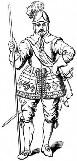Pikeman, 1635. A soldier from the English Civil war.