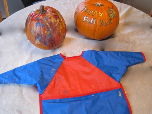 EM and Grandmama broke in a new art smock and painted fall pumpkins as the Alaskan sky changed.