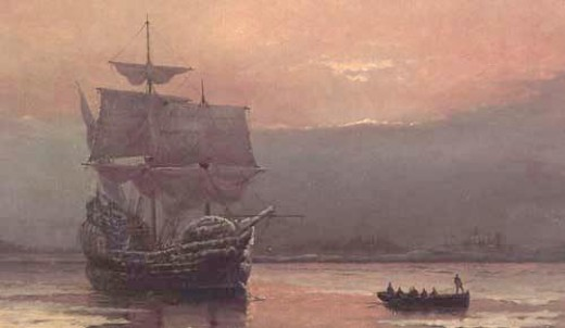 """Mayflower in Plymouth Harbor"" - by William Halsall (1882)"