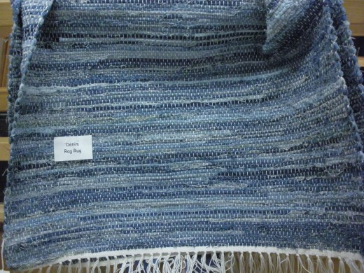 A denim rug on display at the weaving class at the Cultural Arts Center in Columbus Ohio.