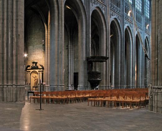 Interior of St. Waudru church, Mons